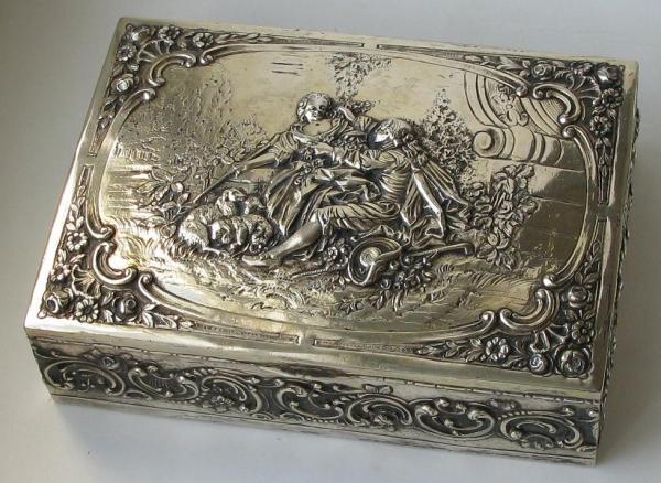 Продажа Шкатулка серебро 800 проба дерево 773грамма Столовое серебро...